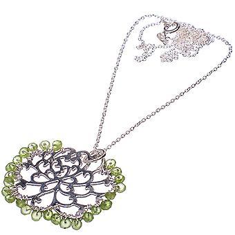 "Peridot 925 Sterling Silver Necklace 21""  - Handmade Boho Vintage Jewelry NEC11839"
