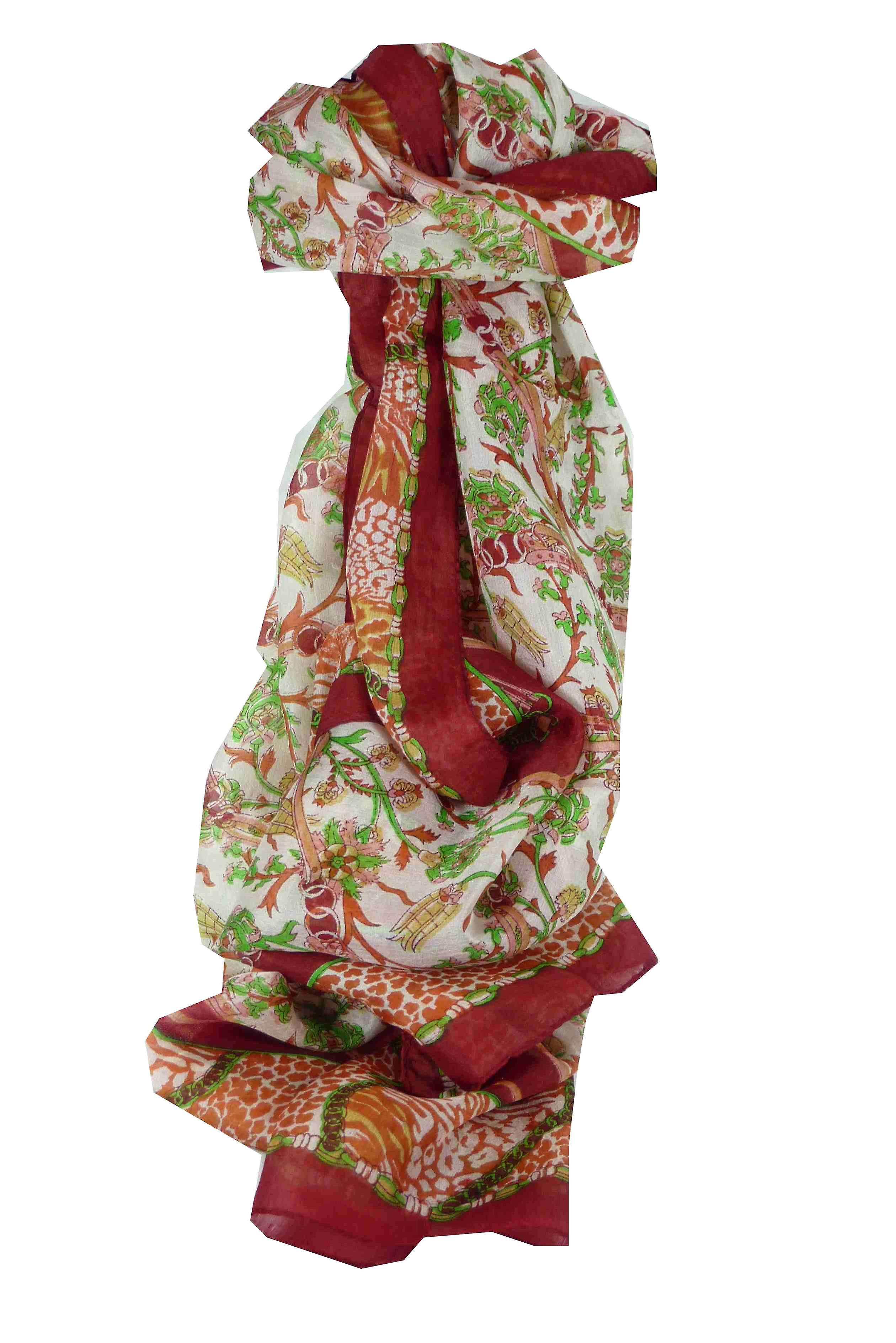 Mulberry Silk Traditional Long Scarf Bijul Red by Pashmina & Silk