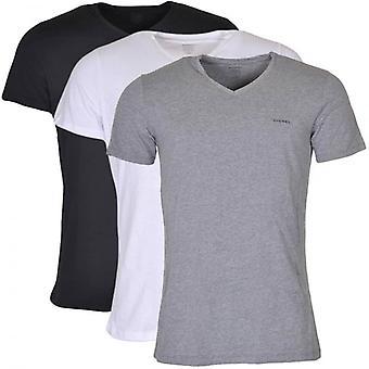 Diesel UMTEE Jake 3-Pack 'V' Neck T-Shirt, Black/Grey/White, XX-Large