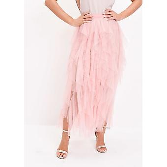 Alta vita Layered Tulle Increspature Midi Gonna rosa