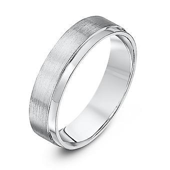 Mariage Star anneaux Palladium 950 léger plat Cour Matt avec bague de mariage 5mm côté poli