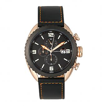 M64 morphique Series chronographe en cuir-bracelet w / Date - Rose Gold/Black