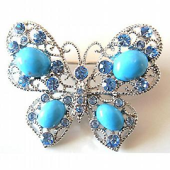Turquiose Schmetterling Aquamarin Kristalle Holiday Gift Brosche Pin