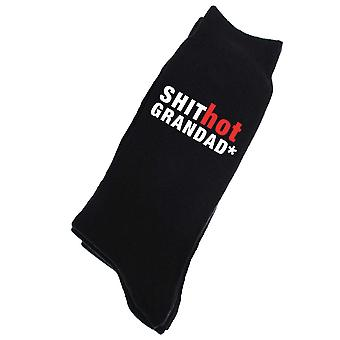 Shit Hot Grandad Mens Black Calf Socks