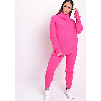 Roll-Hals Kabel stricken Loungewear Set Neon Pink