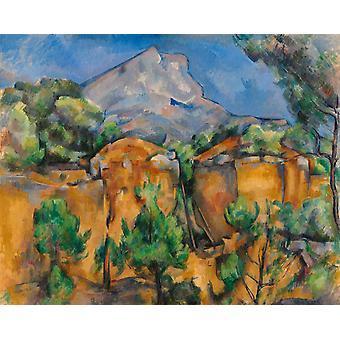 Mont Sainte-Victoire gezien vanuit de steengroeve, Paul Cezanne, 50x40cm