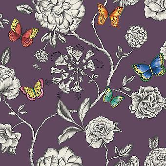 Plum White Floral Wallpaper Butterfly Rose Flower Leaf Paste Wall Holden Décor