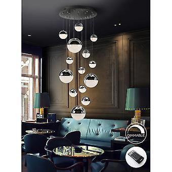 Schuller Cascade With Gold Chrome Copper Spheres Dimmable LED 14 Light