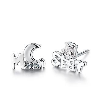 Стерлингового серебра 925 Луна и звезды дизайн серьги Стад