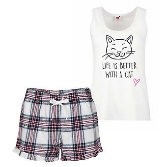 حياة القط أفضل مع القط الوردي الترتان بيجامة