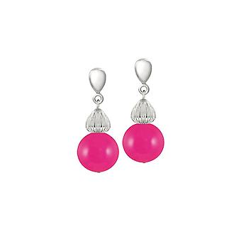 Eternal Collection Solitaire Fuchsia Pink Pearl Silver Tone Drop Pierced Earrings