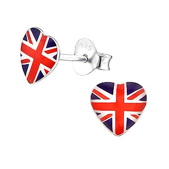 Children's Sterling Silver Union Jack Heart Stud Earrings