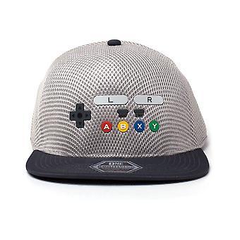 Nintendo original SNES Controller inspirert sømløs Flatbill baseball cap-grå