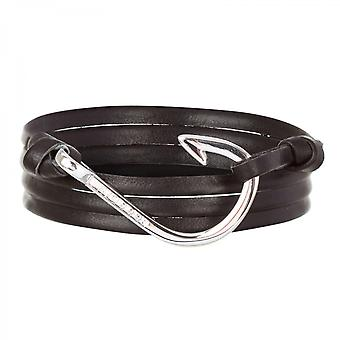 Holler Kirby  Silver Polished Hook / Black Leather Bracelet  HLB-04SRP-L13