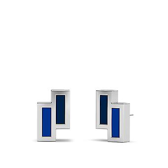 St. Louis Blues Sterling Silver Asymmetric Enamel Stud Earrings In Blue & Blue