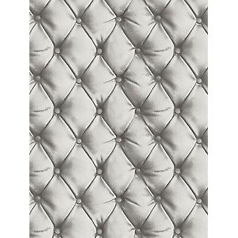 Desejo Chesterfield efeito de couro wallpaper prata Arthouse 618104