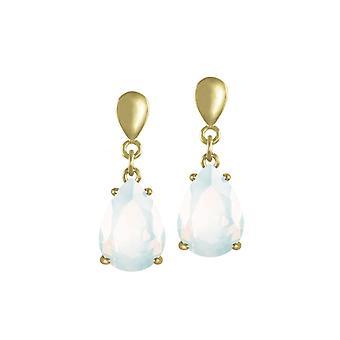Eternal Collection Seduction Teardrop White Opal Crystal Gold Tone Drop Clip On Earrings