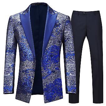Allthemen Мужчины и apos s смокинг 2-Pieces костюмы позолота Свадебная вечеринка костюм куртка и брюки