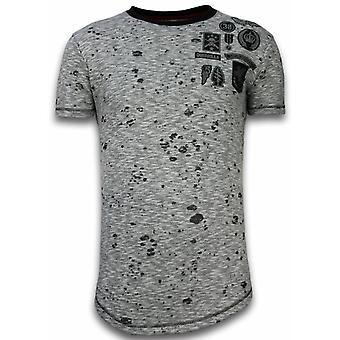 Longfit epäsymmetrinen kirjonta-T-paita laastaria-Guerrilla-harmaa