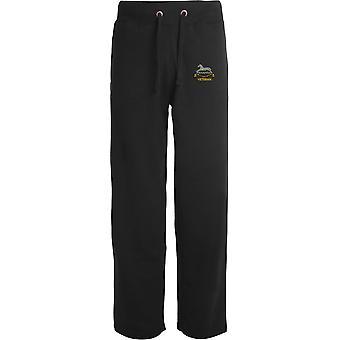 Rainhas próprias Hussars veterano-licenciado British Army bordado aberto hem Sweatpants/jogging Bottoms