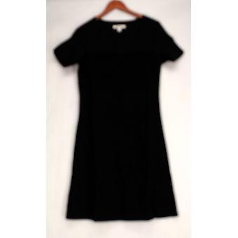 Liz Claiborne York Short Sleeve Textured Black Dress A213178
