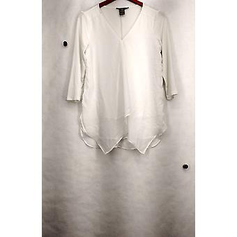 Kate & Mallory Top Knit Woven 3/4 Sleeved Overlayed V-Neck Ivory A428114