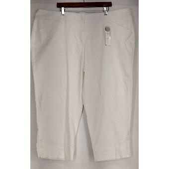 Charter Club Plus Pants Tummy Control Classic Fit Crop White Womens