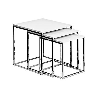 Fusion Living White und Chrome Nest of Tables
