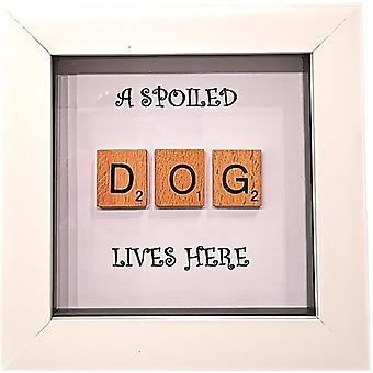 Handmade Spoiled Dog in White Frame by Wee Bee Gifts