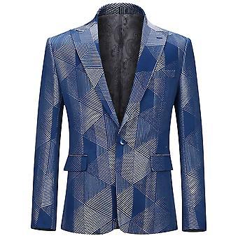 Allthemen Men's Blazer Geometric Pattern One Button Banquet Suit Jacket