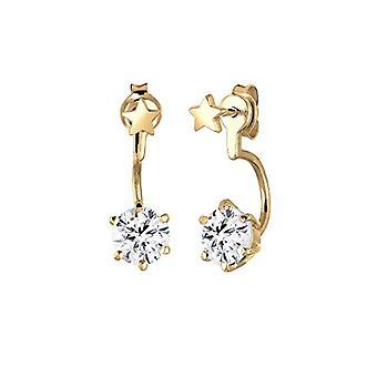 Elli-kolczyki damskie-zamknięcie przód i tył-wzór: gwiazdki-srebrny 925 częściowo pozłacane-jasny biały kryształ-0305230415