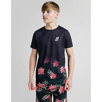 Nova illusive London Boys ' floral fade manga curta T-shirt preto
