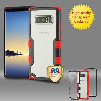 MYBAT Natural Black Frame-Transparent PC Back/Red TUFF Vivid Hybrid Protector Cover pour Galaxy Note 8