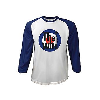 The Who T Shirt Classic MOD Target Band Logo Official White 3/4 Sleeve Baseball