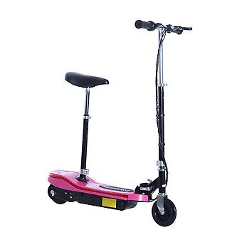 HOMCOM 120W Kids E Scooter Ride on Folding Electric Bike Children Sports Toy Height Adjustable w/2 12V Rechargeable Battery (Pink)