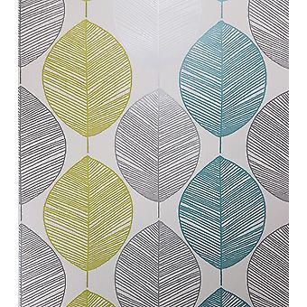Teal Green Taupe Leaf Floral Wallpaper Silver Metallic Shimmer Flower Arthouse