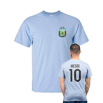 Messi estilo Argentina Futebol T-shirt-luz azul