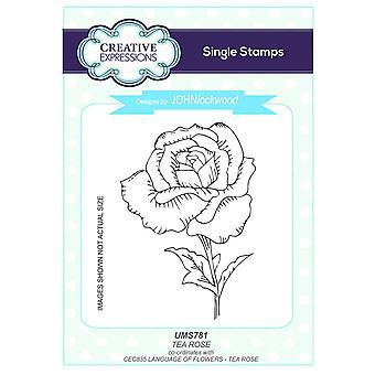 Langage de Expressions créatives John Lockwood des fleurs A5 Clear Stamp Set - CEC835 Tea Rose