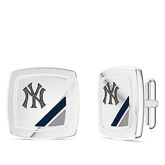 New York Yankees Yankees Enamel Cuff Links In Blue and Red In Sterling Silver
