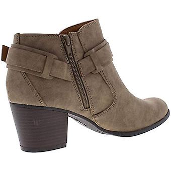 Indigo Rd. Womens Sansun Faux Leather Stacked Booties Taupe 5.5 Medium (B,M)