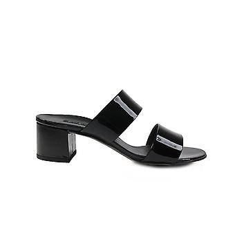 Paul Green 6016-13 Black Patent Leather Womens Slip On Heeled Mule Sandals