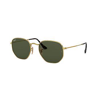 Ray-Ban Hexagonal RB3548N 001 Gold/Green Sunglasses