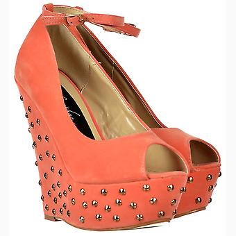 Onlineshoe Coral Studded Suede Wedge Peep Toe Platform Shoes Ankle Strap - Coral Studded