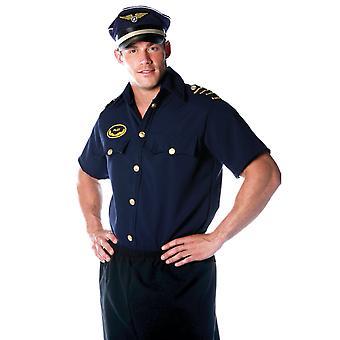 Airline Plane Pilot Flight Captain Aviator Uniform Mens Costume Shirts Top OS