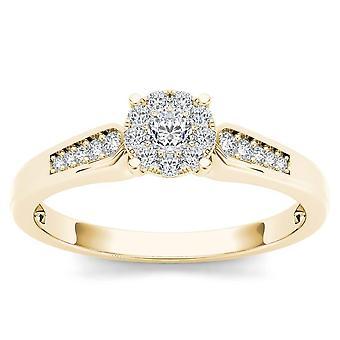 Igi certified 10k yellow gold 0.25 ct round cut diamond cluster engagement ring