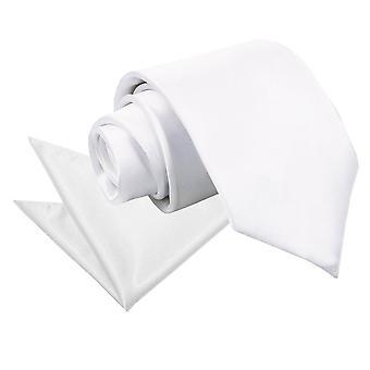Zwykły biały satynowy krawat & placu kieszeni zestaw