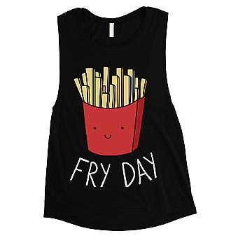 365 Printing Fry Day Womens Black Muscle Shirt For French Fries Lovers Gift