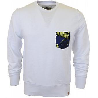 Franklin & Marshall Flower Pocket Round Neck White Sweatshirt