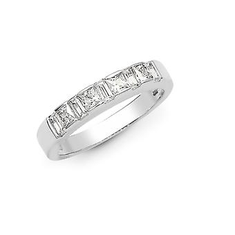 Jewelco London Solid 18ct White Gold Channel Set Princess G SI1 0.87ct Diamond Alternating Bars Eternity Ring 3.5mm