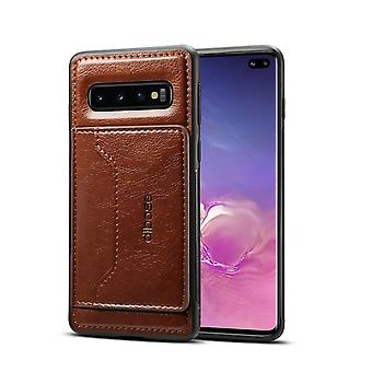 Pour Samsung Galaxy S10 Plus Case,Coffee Horse Texture PU Leather Wallet Cover